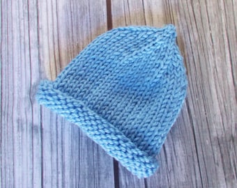 Preemie Pixie Hat, Blue Hand Knit Baby Hospital Hat Gift, Preemie Size 3 to 5 pounds, Premature Newborn Infant Boy Coming Home Beanie Cap
