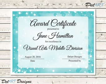 Pta reflections certificate 2017 2018 digital printable pdf light blue and purple certificate templates instant download editable pdf file 85 x yelopaper Images