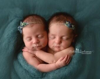 Teal Waters Colorblend Fluff - newborn photo prop - bluegreen wool batting - basket stuffer - cloud layer
