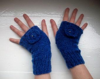 Hand warmers, wool mix, fingerless gloves, royal blue, beaded flower by SpinningStreak