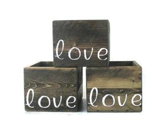 Small Planter Boxes - 3 Love gifts - Rustic Chic Garden Decor Box