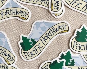 Pacific Northwest Vinyl Sticker / Hand Lettered Design / Modern Sticker / Laptop Sticker / Northwest Sticker / Mt Hood Sticker / Waterproof