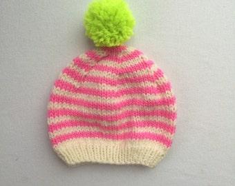 Shocking Pink Striped Hat