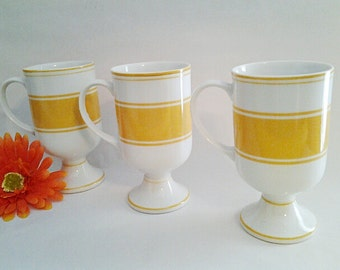 Vintage Yellow And White Striped Pedestal Mugs (3), 1960's Made In Japan Collectible/Replacements/Retro/Farmhouse Chic/Vintage Kitchen/Gift