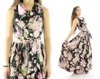 Vintage 70s Floral Maxi Dress Cocktail Party Sleeveless Dress Black Pink Maxi Medium M Skirt 1970s Small S Hippie Full Skirt