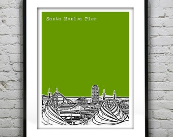 20% OFF Memorial Day Sale - Santa Monica Pier California Poster Art Skyline Print Version 1