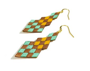 saffron yeallow, mint and pinkish gold diamond shaped leather earrings