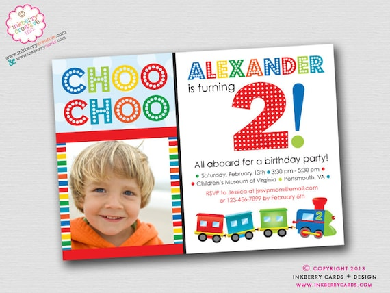 Colorful Choo Choo Train 2nd Birthday Party DIYPrintable
