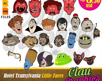 Hotel Transylvania Little Faces SVG patterns, PNG images and editable file, cute patterns for papercraft projects and more