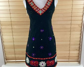 Vintage Moschino Sequins Folk Art Dress