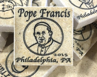 Pope Francis etched in Jerusalem stone Philadelphia PA 2015