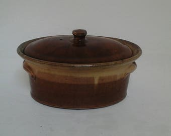 Old tureen - casserole - stoneware French - 1920-