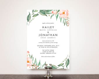 Blush Botanical Wedding Invitation Suite
