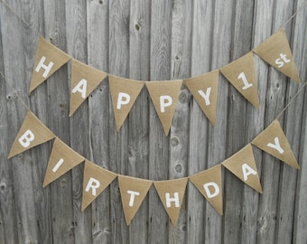 1st Birthday Banner Happy Birthday Sign Birthday Banner Happy Birthday Burlap Banner 1st Birthday Boy Banner 1st Birthday Girl Banner