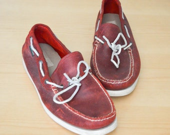 Vintage Leather Deck Shoes, Eastland Boat Shoes, Leather Loafers, Retro, Red Loafers Shoes, Mens Size 12, Vintage Loafers, Vintage Shoes