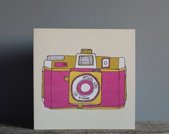 Holga Camera Greetings Card - Pink Camera - Pink Holga Print - Retro Camera Print - Film Camera Print