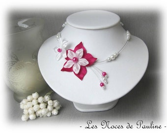 Bridal white flower fuchsia satin Julia ceremony necklace