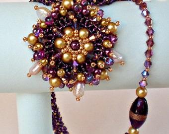 Purple Mauve  Gold  Beadwoven Necklace Beaded Beadwork Beadweaving Jewelry