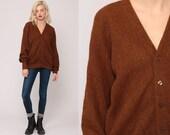 Alpaca Cardigan Sweater WOOL Cardigan 80s Plain Brown Cardigan Grunge Button Up Slouchy 70s Grandpa Hipster Vintage Retro Extra Large xl