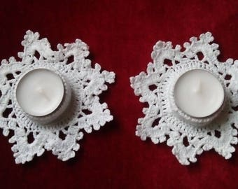 Two candle holders, crochet. To order.