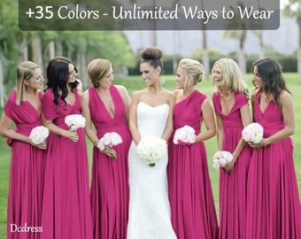 Magenta Bridesmaid Dress Magenta Infinity Dress , Convertible Dress, Multi wrap dress