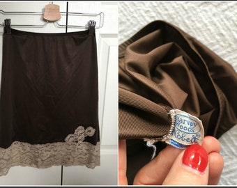 Vintage 1960s Harvey Woods Brown Half Slip with Lacy Trim - Size Small