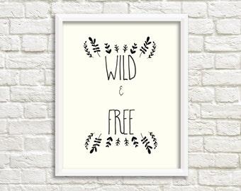 Printable Wall Art, Wild and Free Print, Gallery Wall, Bohemian Art, Printable Wall Decor, Printable, Gallery Wall Printable