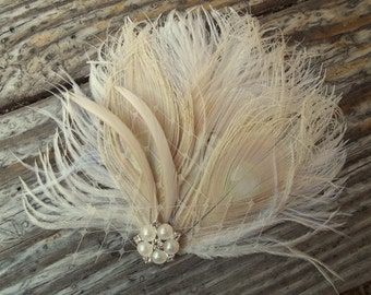 Ivory bridal fascinator,  Ivoryhair clip, ivory bridal hair comb, wedding hair comb, wedding headpiece, bridal headpiece, bridal hair comb