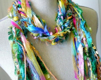 Long Knot Scarf with Wood Beads- Spring Carnival