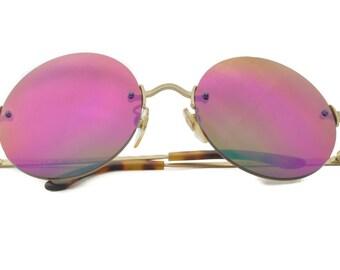 Club LA 112R Rimless 58mm Round Multicolor Mirror Polycarbonate Retro Sunglasses