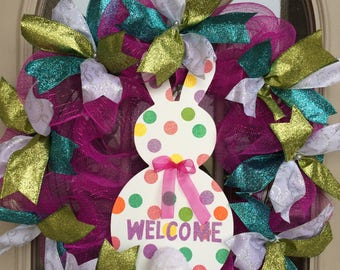 Easter Bunny Glitz and Glamour Deco Mesh Wreath