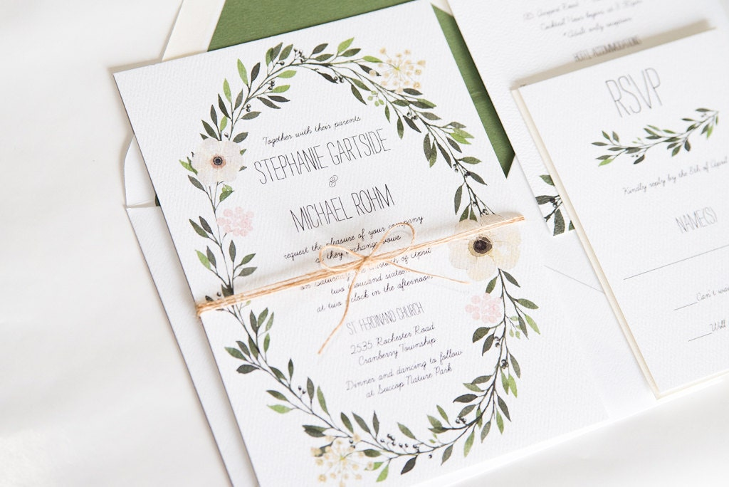 Greenery Wedding Invitation Watercolor Greenery Wreath Wedding