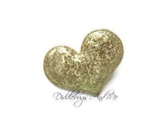 Gold Glitter Heart Hair Clip, Girls Heart Clip, Gold Heart Hair Clips, Baby Hair Clips, Girls Hair Accessories, Hair Clips For Toddlers