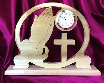 Religious, Christian, Cross, Praying Hands, Wood, Desk or Table Clock