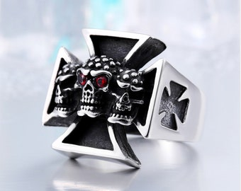 Punk Gothic Ring Cross Titanium Skull Cross With Red Eyes gothic Jewelry Vintage ring biker ring punk ring goth ring Rock Punk totem