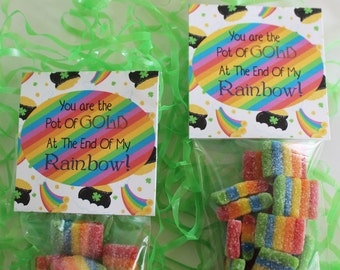 St Patricks Day Party Favors, Rainbow, You are the pot of gold at the end of my rainbow, Classroom favors, Leprechaun party, Treat Bags