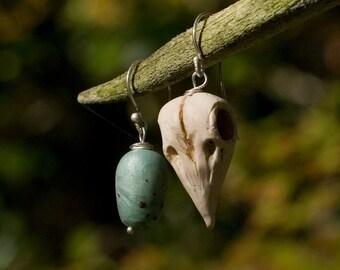 Skull and egg earrings