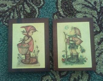 2 Vintage HUMMEL Wood Planks w/Prints.