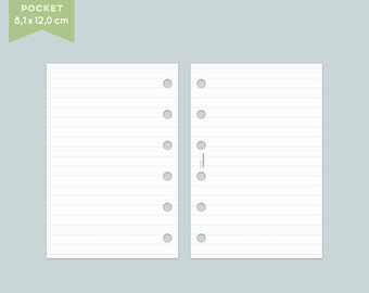 Notepaper Filofax - lines - 25 Sheets - Pocket