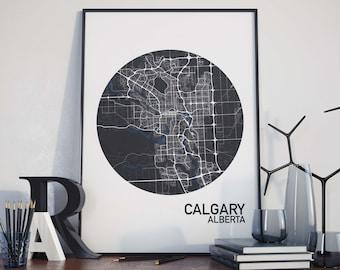 Calgary, Alberta City Map Print
