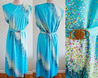 70s Vintage XL turquoise dress. Belted XL vintage dress. German dress.