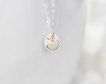 Tiny Gold Apple Charm and Sterling Silver Disc Necklace - Apple Of My Eye - Teacher Gift