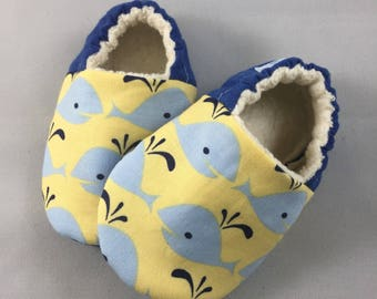 Whale Baby shoes, baby boy booties in blue and yellow, baby slippers, baby crib shoes, soft sole baby shoes, baby shower gift,  whale print