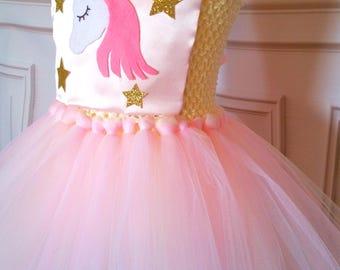 Unicorn Tutu Dress- Unicorn Costume- Unicorn Dress- Pink and Gold Unicorn Tutu- Tea Party Tutu- Unicorn Birthday Party- Spring