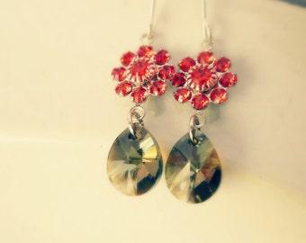 Swarovski Crystal Earrings, Crystal Dangle Earrings, Smoky Quartz, Silver Earrings, Drop Dangle Earrings