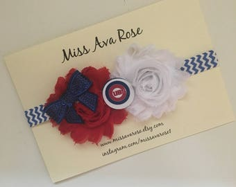 Chicago Cubs inspired bow, Cubs baseball baby bow, baseball bow headband, Chicago Cubs baby