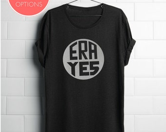 Feminist TShirt: ERA YES shirt (multiple colors) historical design based on Equal Rights Ammendment Pin, by Fourth Wave Feminist Apparel