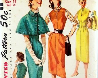 Vintage 1950s Sheath Dress & Cape Pattern Simplicity 1676 Bust 34 35 Factory Folded Rockabilly Wiggle Dress