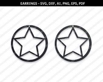 Star earrings svg,Abstract earrings,Jewelry svg,leather jewelry,Cricut silhouette,Earrings vector,SVG earring,svg,dxf,ai,eps,png