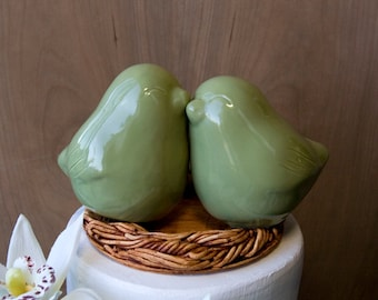 Sage Green Love BIrd Cake Topper